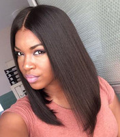 Wholesale Straight Middle Part Bob Hair Wigs Brazilian Human Hair Wigs Full Lace Wigs For Black Women Natural Color Bellahair dhl