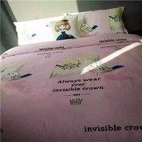 beddings set - YJ1 Cotton Young Girl Style Home Beddings Kids Carton Bedding Fabric Children Bedding Set Pink Blue Beige Colors
