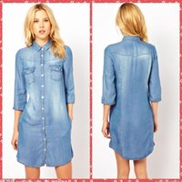 La mitad de la manga azul ocasional de las mujeres de la falda de los vestidos de corto Mini Columna Jean señoras vestido barato Venta Online