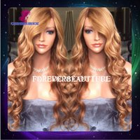 blonde lace front wigs - 100 human virgin hair Loose wave lace front wigs honey blonde glueless full lace wigs human hair