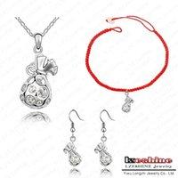 bags necklace option - New Gift Bag Shape Jewelry Set Austrian Crystal Necklace Pendant Bracelet Ring Set Fashion Jewelry Colors Option ST HQS0036
