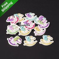 bear rocking horse - 2 Hole Rocking Horse with Bear Printed Wooden Sewing Buttons Mixed Color x33x2mm Hole mm
