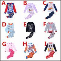 aladdin color - Prettybaby kids boys girls long sleeve cartoon pajamas baby olaf darth vader Aladdin mickey pig Xams shirts pants set suits Pt0063