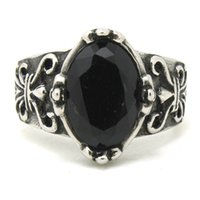 Cheap Free shipping Cool Mens Black Stone Fleur De Lis Rings Silver Stainless Steel Black Stone Ring
