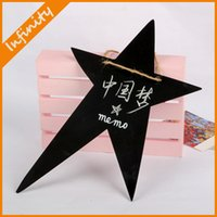 Wholesale cm Mini Wooden Five pointed star Blackboard Message Memo Note Board Hanging Message Wedding Decor Board