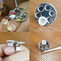 Wholesale Mini Finger Nail Art Palette For Free Hand Manicure Ring Palette