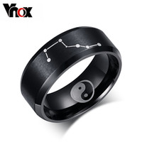 ba gua - Black Color Rings for Men Jewelry Stainless Steel Chinese Ba Gua Elements Rings Big Dipper Ring Jewelry Christmas pa