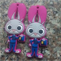 Wholesale 500pcs CCA3563 High Quality Zootopia Judi Rabbit Nick Cartoon Fox Rabbit Silicone Keychain Bag Pendents Key Ring Rubber Two Piece Cos Gift