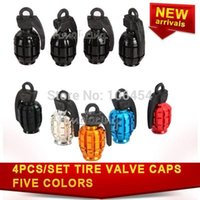 Wholesale 4PCS SET Motorcycle Tire Air Valve Car Caps Tyre Covers Grenade Wheel Bike Car Cap Cover Black Red Gold Blue Silver free ship A5 A5
