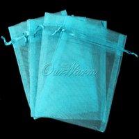 aqua gift bags - 50pieces Aqua Blue quot x4 quot cmx12cm Strong Sheer Organza Pouch Wedding Favor Gift Candy Bag PUH