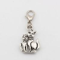 Caliente ! 100Pcs plata de la antigüedad de la aleación del gato de los encantos encantos de la caída con broche de langosta Fit pulsera del encanto 15 x 36mm joyería DIY