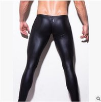 Wholesale Sexiest Man Leggings - On Sale Men' Fashion Low-rise Bulge Pouch Night Club Stage Performance Tights Pants Men's Sexy Faux Leather Leggings Black Skin hight qualit