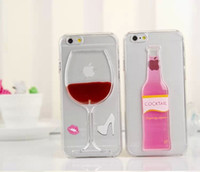 For Apple iPhone beer cocktails - 2015 Floating glitter liquid D Red Wine Cocktail Beer Hourglass Smart Phone case for iphone case plus clear Transparent PC