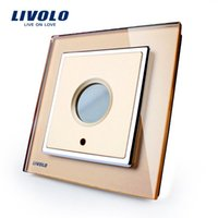 Wholesale Golden Glass Panel Livolo New Wall Light Timer Switch AC V Home Wall Light Switch VL W291Y