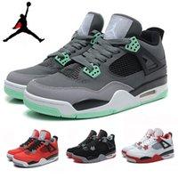 green synthetic - Nike dan Retro IV Toro Bravo Bred Green Glow Oreo Thunder Cement Mens Basketball Shoes AJ4 retro IV Sneakers J4s