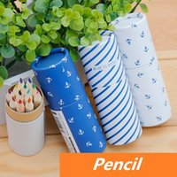 Wholesale 24 Color pencil Vintage blue ocean design Classic Stationery for art Drawing Office school supplies