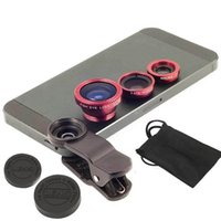 Wholesale set in Fisheye Fish Eye Lens Wide Angle Lens Macro Mobile Phone Lens Camera Lens for iPhone Samsung