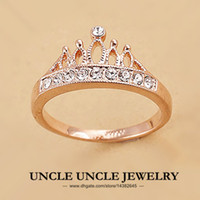 Wholesale 18K Rose Gold Plated Rhinestones Retro Princess Crown Design Lady Finger Ring krgp
