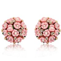 Wholesale 2015 New Arrive Fashion Design Earrings For Women Jewelry Ceramic Flower Rhinestone Stud Earrings Brincos