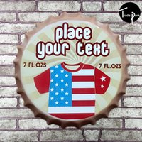 Wholesale 35 cm Round place your text FL OZS Bottle cap Retro Tin Sign for the Pub Bar Garage