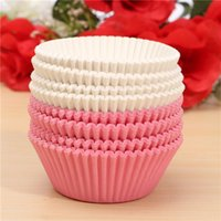 Wholesale 100pcs Paper Pink White Cupcake Cake Baking Cups Liner Muffin Cupcake Wedding Party Mold