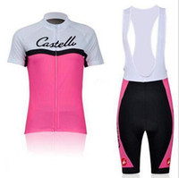 Wholesale NEW Summer Pink Women Team Cycling clothing Cycling jersey short sleeve Shorts With Bib Shorts C519