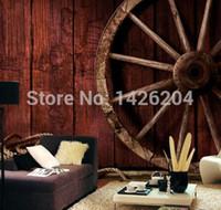 bar lounge - 3d Retro wood grain wheel rope large murals vintage bar lounge bar Coffee hall wallpaper mural d large