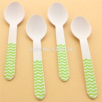 Wholesale Mixed Colorful Chevron Striped Polka Dot Tableware Wooden Spoon Utensils for Wedding Party Supplies Party Wooden Spoons Forks Knives Cutlery