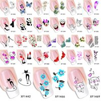 nail tattoo sticker - Sheet Top Sell Flower Bows Etc Water Transfer Sticker Nail Art Decals Nails Wraps Temporary Tattoos Watermark Nail Tools JIA417
