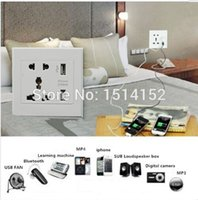 Wholesale Dual V A USB Port Electric Home Wall Power Charger Dock Station Socket Adapter Panel Plate