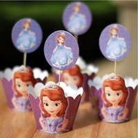 Wholesale Princess Sofia Paper Cupcake Wrappers Decorating Boxes Cake Cup With Toppers Picks For Kids Xmas Birthday Party Decoration
