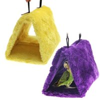 Wholesale V1NF Bird Parrot Budgie Nest Shed Fluffy Warm Suspended Hut Toy Purple Yellow S DHL EMS FeDex Mail