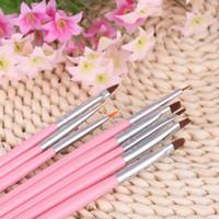 Wholesale 8pcs Nail Art Design Painting Tool Pen Polish Brush Set Kit DIY Professional Pink Nail Brushes styling tools nail tools