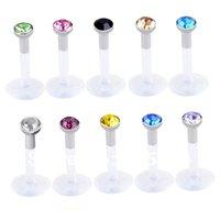 Wholesale 20pcs mix color G MM Czech Crystal Labret Monroe Lip Ring BIOFLEX Bar Body Piercing Stud