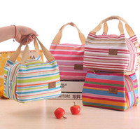 bag coolers - Thermal Insulated Portable Cool Canvas Stripe Lunch Totes Bag Carry Case Picnic
