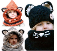 Wholesale 2016 Fox Baby Hats Autumn Winter Caps Kids Girls Boys Warm Woolen Knitted Coif Hood Scarf Beanies toddler christmas gifts years old