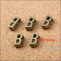 b cubed - Vintage Charms Letter B Antique bronze Fit Leather leather slide rope bracelet jewelry production jewelry making DIY