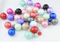 Wholesale European Style Frosting Double Pearl Stud Earrings Pairs colors