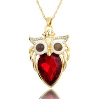 artificial designer jewellery - New fashion designer artificial diamond owl necklace jewellery promotion discount crystal gold long necklaces pendants