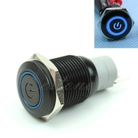 Cheap Free Shipping Blue LED Metal Power Symbol Push Button Momentary Switch 16mm 12V For Car Boat
