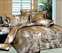 achat en gros de reine literie guépard-2,015 Hotsale 100% coton Queen Bedding Textile Quilt Housse de couette Sets 4Pc Jungle Cheetah