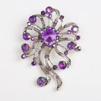 casting jewelry - Three color tone fleur de lis bling alloy zinc casting with amethyst ruby amber stone women costume jewelry pin brooches