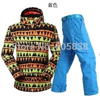 Wholesale hot sale men ski suit winter warm ski jacket pants one set skiwear Gsou Snow men snow boarding suit