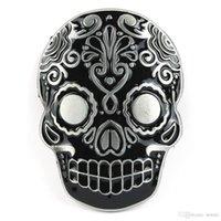 Wholesale Mexican Katrina Dia De Los Muertos Skull Head Day of the Dead Black Mask Belt Buckle harley