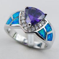 Wholesale Amethyst Blue Fire Opal Sterling Silver Ring Size R1336