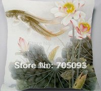 Cheap Wholesale-Chinese flavor Lotus carp pillow case+ inner cushion flavor NO.17 customerized free shipping