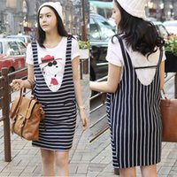 Wholesale Plus Size Summer Fashion Two Pieces Maternity Dresses White Cute T shirt Short Sleeves With Sleeveless Stripe Dresses Loose Women Dresses