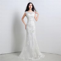 Cheap 2015 New Mermaid Wedding Dress Jewel Appliques Sash Sweep Train Organza Charming Upscale Zipper Back Bow Sexy In Stock Real Dress 26119
