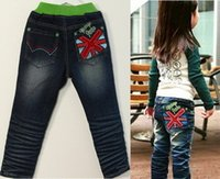 authentic jeans wholesale - fashion boy girl Velvet lining embroidery double deck jeans pieces Children s authentic elasticity jeans