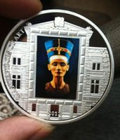 big lots art - 5 Cook Island Egypt Queen Nefertiti MASTERPIECES of the art silver plated colored Elizabeth coin big size OD about mm